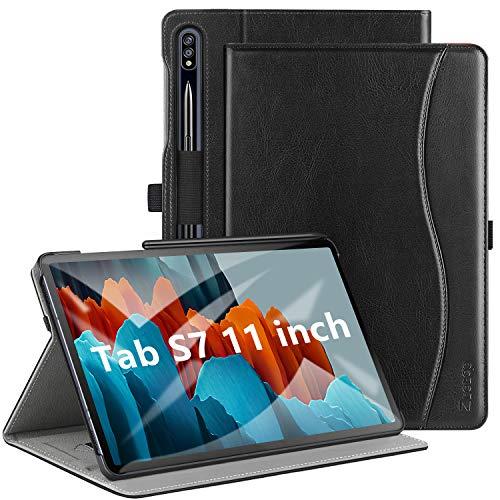 ZtotopCase Funda Samsung Galaxy Tab S7 11 Pulgada 2020, Cover Case de Cuero Premium PU Business Folio Stand, Multi-ángulo, Función de Activación/Reposo Automático, Negro