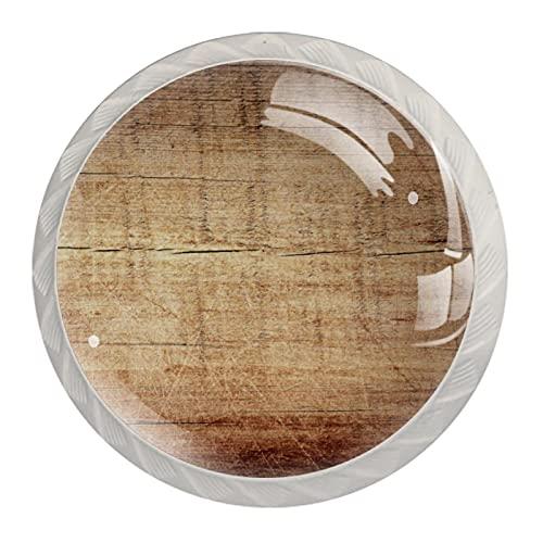 Perillas de cajón de madera rayada marrón para puerta de gabinete (paquete de 4) redondos sólidos para oficina, hogar, cocina, baño