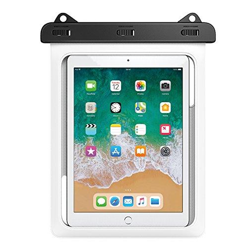 MoKo Funda Impermeable - Universal Waterproof para Actividades al Aire Libre, Se Ajusta para iPad Mini 2019, iPad Pro 9.7, iPad 2/3 / 4, Tab A 9.7 / Tab E 9.6 y Otras Tabletas de 10 Inch, Blanco