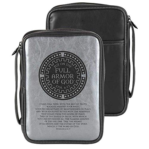 Full Armor of God Ephesians 6:13 Metallic Silver and Black Polyurethane Bible Book Cover Case with Handle, Large