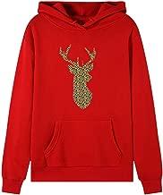 NANTE Top Christmas Sequin Elk Long Sleeve Cute Sweatshirt with Pocket Xmas Sequin Reindeer Polo Blouse Wapiti Moose Graphic Tunic Tops