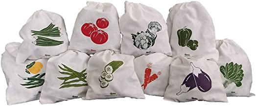 Arka Home Products 100% Cotton Vegetable Storage Fridge Bags (Set of 10) Eco-Friendly, Non-Toxic, Washable, Reusable