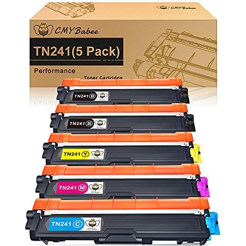 CMYBabee Cartucho de Tóner Compatible Repuesto para Brother TN241 TN245 TN242 para HL-3140CW HL-3150CDW HL-3170CDW DCP-9020CDW DCP-9015CDW MFC-9330CDW MFC-9340CDW MFC-9130CW MFC-9140CDN (5 Paquete)