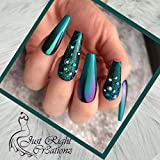Just Right Cr3ationz Extra Long Fake Nails For Women, ABS Press on Nails Coffin, Pack of 20 Pcs Ballerina Artificial Nails Tips with Mini Nail File, Adhesive Tape and Cuticle Wood Stick (Peacock Blue)