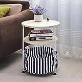 Lcjtaifu Möbel Beweglicher runder Sofa-Beistelltisch für den Haushalt Runder Beistelltisch mit Ablagekorb (Farbe: Hellrosa, Weiß, Kaffee, Schwarz)