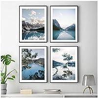 DLFALG キャニオンレイクマウンテンスカイフォレストランドスケープウォールアートキャンバス絵画北欧のポスターとプリント壁の写真リビングルームの家の装飾-40x50cmx4フレームなし