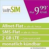 winSIM LTE All 2 GB [SIM, Micro SIM y Nano-SIM] mensualmente Anuncio (2 GB LTE-Internet con máx. 50 Mbit/s + Datos automáticos, telefonía Plana, SMS Plano, 9,99 Euro/Mes) Red O2.