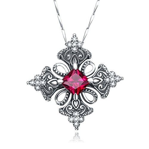 Merthus Antique Created Ruby Irish Celtic Cross Pendant Necklace for Women,18'