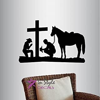 In-Style Decals Wall Vinyl Decal Home Decor Art Sticker Cowboy and Cowgirl Praying Kneeling Cross Horse Western Bedroom Living Room Removable Stylish Mural Unique Design 788