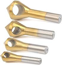 WOWOSS 4Pcs Juego de Avellanador de HSS para Herramientas de Desbarbado, Juego de Brocas para Desbarbado de Avellanas de 90 ° con Recubrimiento de Titanio para Metal, Madera, Plástico, Aluminio