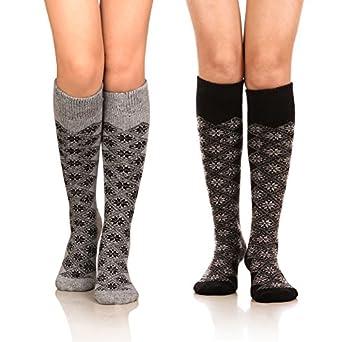 DoSmart Womens Winter Warm Knee High Socks Boot Socks 2-Pairs Multi Color  AA-02  One Size