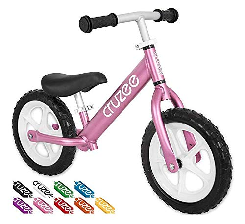 Cruzee Ultralite Balance Bike (4.4 lbs) for Ages 1.5 to 5 Years | Pink - Best Sport Push Bicycle for 2, 3, 4 Year Old Boys & Girls– Toddlers & Kids Skip Tricycles on The Lightest First Bike