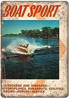 ボートスポーツアウトボードとインボードヴィンテージレトロな外観の金属看板
