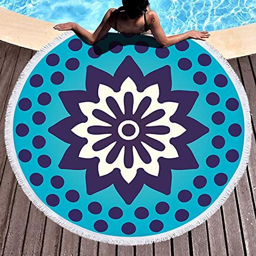 YDyun Natación Playa Camping Absorbente Viaje Toallas de Mano Ducha Toallas de Mano Toalla de Playa Redonda Estampada geométrica