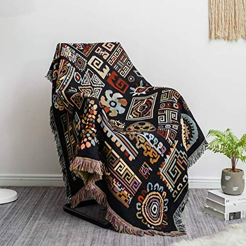 Tribal Throw Blanket Tapestry with Tassels for Couch Bed,...