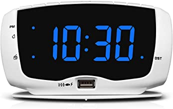 DreamSky Alarm Clock Radio for Bedroom with Dual USB Charging Ports,1.4 Inches Blue Digits with Adjustable Dimmer, Digital...