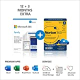 Image of Microsoft 365 Family | 15 Months subscription | Office apps | up to 6 users | Multiple PCs/Macs, Tablets and Phones + Norton 360 Deluxe | 5 Devices | 15 months subscription | multilingual | Download