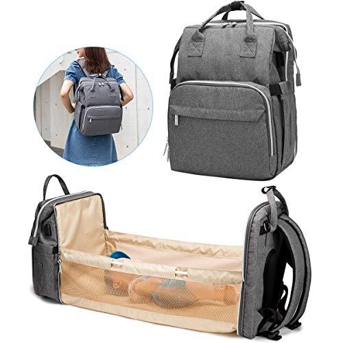 Yissone Baby Crib Bed Backpack Multifunctional Baby Travel Cot Travel Plegable Cama para Bebés Backpack Changing Station Diaper Bag for Men Women