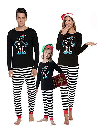 Aibrou Winter Familie Herren Damen Lang Pyjama Set, Karierte Schlafanzug mit Kopfleist Langarm Shirt und Pyjamahose Schwarz M