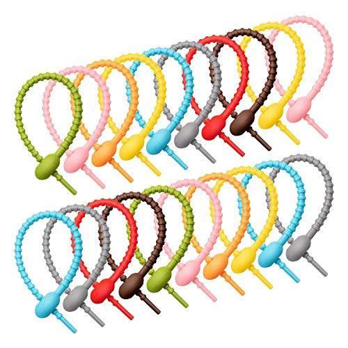 Fransande - 40 pinzas para bolsa de corbatas de silicona de colores, correas de cable, corbata de pan, corbata trenzada de goma, reutilizables, clips de silicona para todo uso