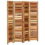 Cikonielf 170 cm Biombo de 4 puertas de madera, separador separador de ambientes, separador para interiores, divisorio para habitaciones, plegable