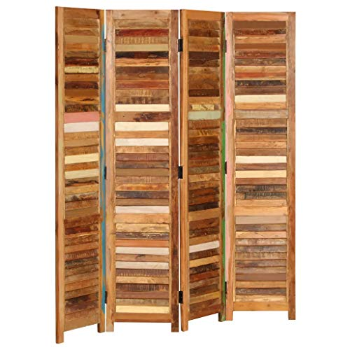 Cikonielf - Biombo de 4 puertas de madera, separador de viento, separador para interiores, separador para habitaciones, plegable