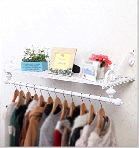 Europäische Eisen Garderobe/rustikalen Stil Aufhänger/einfache Wand Rack (Größe: 60 * 28cm; Farbe: Weiß)