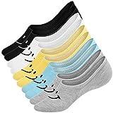 UMIPUBO 10 Pares Calcetines para Mujer Invisibles De Algodón Calcetines Cortos Elástco Con Silicona Antideslizante Anti-olor (F)