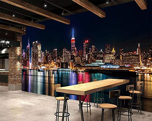 Custom Wallpaper Furniture Decoration Mural New York Night City Hand-Painted Abstract TV Sofa Background