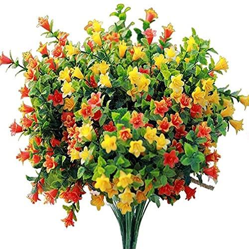 YYHMKB Flores Artificiales Arreglos Florales Falsos para Exteriores Decoración de Flores de Cementerio Plástico Resistente a los Rayos UV para centros de Mesa de jardín 4 Paquetes de Colores