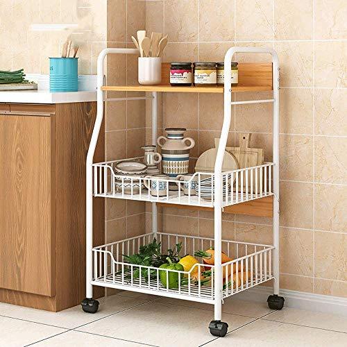 WOF KITCHEN 3-LAYER WHEELED OPSLAG RACK - keuken douchekamer mobiele plank (eiken)