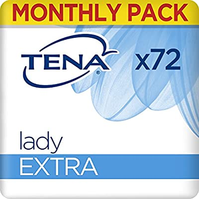 TENA Lady Extra Towels, for Moderate to Heavy Bladder Weakness, Monthly Pack of 72 Incontinence Pads for Women