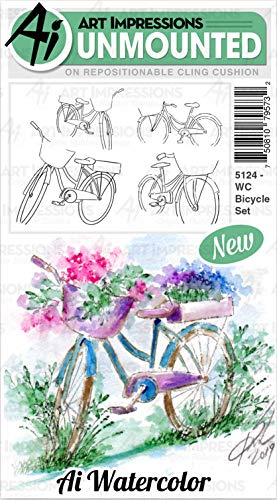 Art Impressions Watercolor Cling Rubber Stamps-Bicycle