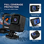 Kupton Accessories Kit Bundle Compatible with GoPro HERO9, Waterproof Housing + Glass Screen Protector + Silicone Case… 11 📷【60m/196ft Waterproof Housing Case】Kupton housing case has tight buckle and upgraded waterproof seal, providing ultimate protection for your GoPro during extreme outdoor activities and deep-water diving. 📷【Silicone Case Set】New Version Bundle compatible with GoPro HERO9 adds daily protection set for your camera, including silicone sleeve case, lanyard as well as silicone lens cap. Silicone protective case with light but strong materials fits your camera snugly. Lanyard well solves the problem of carrying for outdoor video activity. 📷【Tempered Glass Screen Protector】Tempered glass protector with a thickness of only 0.3mm brings crystal viewing experience, protecting screen and lens of your camera from dust, fingerprints, drops, scratches and bumps.