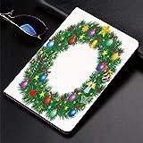 Funda para iPad (9,7 Pulgadas, 2018/2017 Modelo, 6ª / 5ª generación), Letra O, Exhibición Festiva de la Corona de Navidad del Círculo de la Capita,Slim PU Protectora Carcasa con con Auto-Sueño/Estela