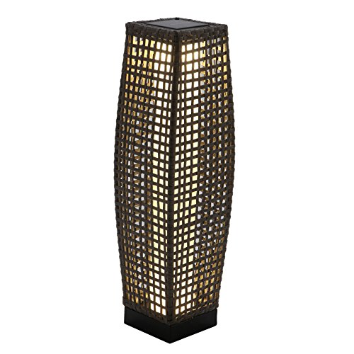 Grand Patio Outdoor Solar Powered Resin Wicker Floor Lamp, Outdoor Weather-Resistant Deck Light, for Garden or Porch (Black)