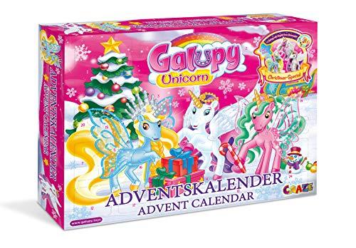 CRAZE Adventskalender GALUPY Unicorn Glitzerpferde 2020 Einhorn Weihnachtskalender für Mädchen Spielzeug Kalender tolle Inhalte 19450