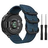MoKo Correa Reloj Compatible con Forerunner 235/235 Lite/220/230/620/630/735XT/Approach S20/S6/S5, Pulsera de Reemplazo Ajustable de Nylón - Azul