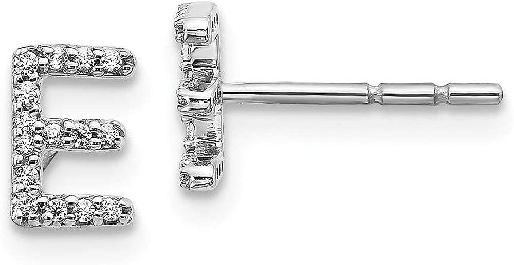 14k White Gold Diamond Initial Monogram Name Letter E Post Stud Earrings Fine Jewelry For Women Gifts For Her