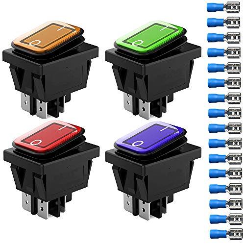 Gebildet 4 Pcs 220-230V DPST 4 Pines 2 Posiciones Encendido/Apagado Rojo/Azul/Amarillo/Verde Luz LED Iluminada Impermeable Interruptor Basculante Interruptor de Palanca (16 Piezas Conector de Cable)