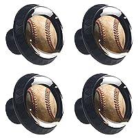 ドレッサーノブハードウェアラウンドノブ、取り付けネジ付きオフィスバスルームキッチンデコレーション用引き出しプル(4個)野球バッター