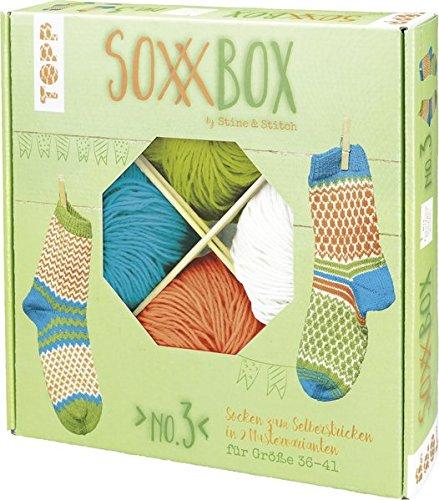 SoxxBox No. 3 - Orange/ Türkis/ Grün/ Weiß: Anleitung und Material für ein Paar Muster-Socken zum Selberstricken
