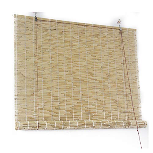 HJRD Natural Reed Curtain,Vintage Bamboo Roller Blind - Curtains, Bamboo Curtains with Lifter,Sunshade Waterproof Lifting Shutters for Outdoor/Patio/Door,Custom(130x200cm/51x79in)