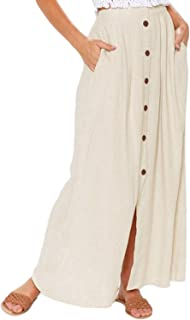 Womens Casual Solid Button Front High Waist Summer A-Line Long Maxi Skirt with Pocket