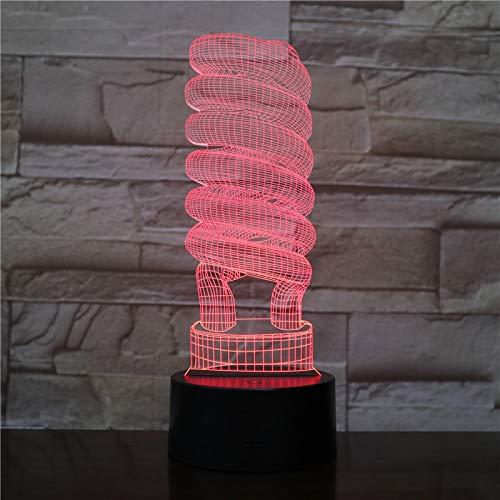 Bombilla espiral Efecto de arte Mejor 3D LED Lámpara de mesa de luz nocturna Decoración de cabecera Regalo de niños