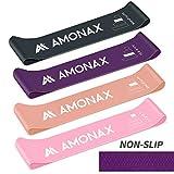 Amonax Elastici Fitness (Set di 4), Bande di Resistenza Fitness con 4 Livelli di Resistenza, Fasce Elastiche Fitness per Crossfit, Yoga, Pilates, Fisioterapia e Riabilitazione, Allenamento di Forza