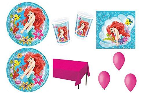 Cdc - Kit n° 8 de La Sirenita Ariel con motivos decorativos para fiestas (24 platos, 24 vasos, 40 servilletas, 1 mantel y 100 globos)