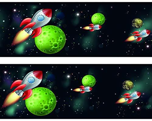 wandmotiv24 Bordüre Rakete im Weltraum 520cm Breite - Vlies Tapetenbordüre Borte Wandborde Borde Kinder Weltall Space BO010