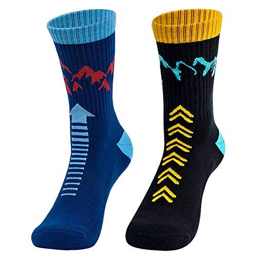 "Time May Tell Mens Hiking Socks Moisture Wicking Cushion Crew Socks for Terkking,Outdoor Sports,Performance 2 pack (Black,Blue 6""-9"")"