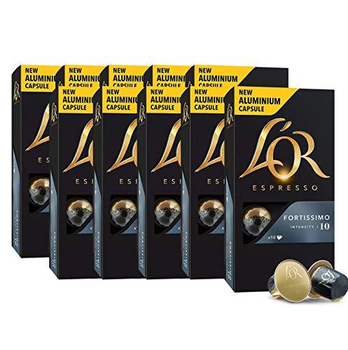 L'Or Espresso Café Fortissimo Intensidad 10 - 100 cápsulas de aluminio compatibles con máquinas Nespresso (R)* (10 Paquetes de 10 cápsulas)